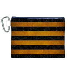 Stripes2 Black Marble & Yellow Grunge Canvas Cosmetic Bag (xl)
