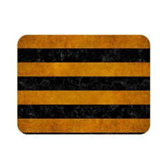 Stripes2 Black Marble & Yellow Grunge Double Sided Flano Blanket (mini)