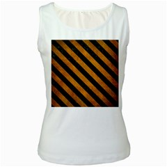 Stripes3 Black Marble & Yellow Grunge Women s White Tank Top
