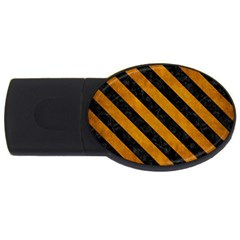 Stripes3 Black Marble & Yellow Grunge Usb Flash Drive Oval (2 Gb)