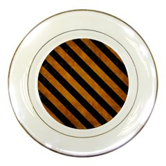 Stripes3 Black Marble & Yellow Grunge Porcelain Plates