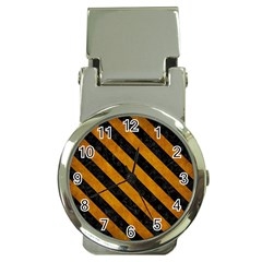 Stripes3 Black Marble & Yellow Grunge Money Clip Watches