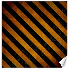 Stripes3 Black Marble & Yellow Grunge Canvas 16  X 16