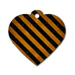 STRIPES3 BLACK MARBLE & YELLOW GRUNGE Dog Tag Heart (Two Sides) Front
