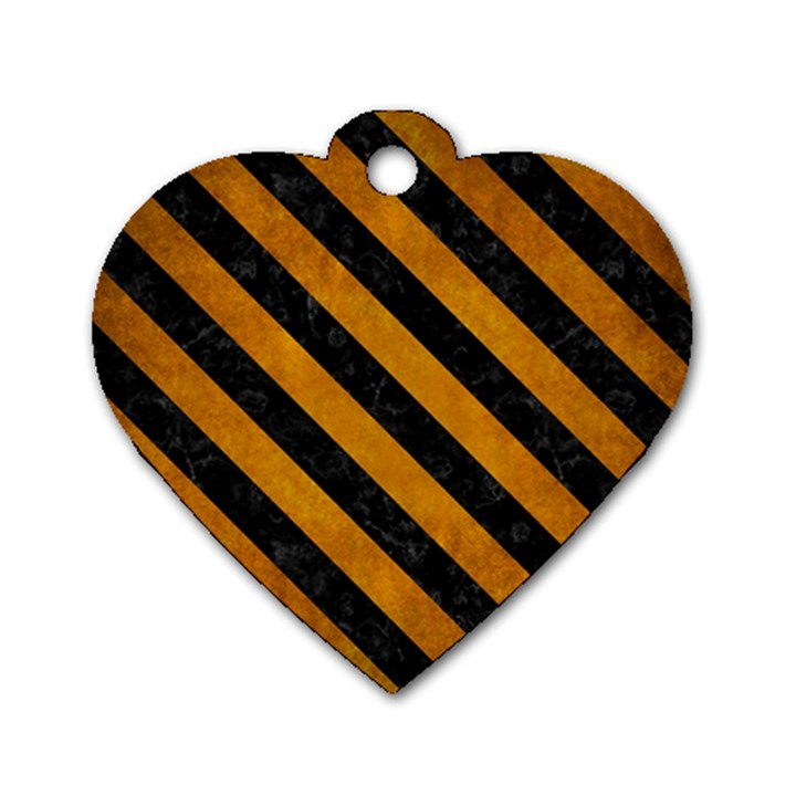 STRIPES3 BLACK MARBLE & YELLOW GRUNGE Dog Tag Heart (Two Sides)