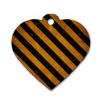 STRIPES3 BLACK MARBLE & YELLOW GRUNGE Dog Tag Heart (Two Sides) Back