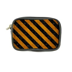 Stripes3 Black Marble & Yellow Grunge Coin Purse
