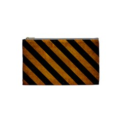 Stripes3 Black Marble & Yellow Grunge Cosmetic Bag (small)