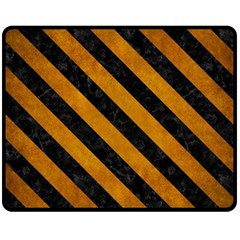 Stripes3 Black Marble & Yellow Grunge Fleece Blanket (medium)