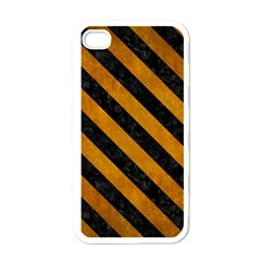 Stripes3 Black Marble & Yellow Grunge Apple Iphone 4 Case (white)