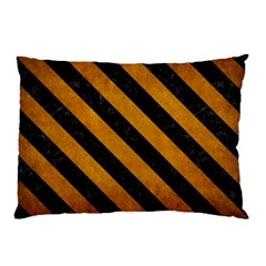 Stripes3 Black Marble & Yellow Grunge Pillow Case (two Sides)