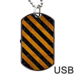 Stripes3 Black Marble & Yellow Grunge Dog Tag Usb Flash (two Sides)