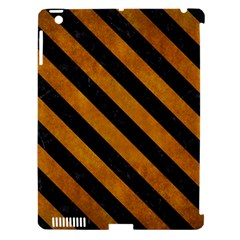 Stripes3 Black Marble & Yellow Grunge Apple Ipad 3/4 Hardshell Case (compatible With Smart Cover)