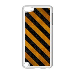 Stripes3 Black Marble & Yellow Grunge Apple Ipod Touch 5 Case (white)