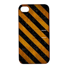 Stripes3 Black Marble & Yellow Grunge Apple Iphone 4/4s Hardshell Case With Stand