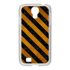 Stripes3 Black Marble & Yellow Grunge Samsung Galaxy S4 I9500/ I9505 Case (white)