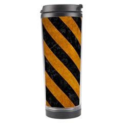Stripes3 Black Marble & Yellow Grunge Travel Tumbler