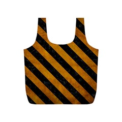 Stripes3 Black Marble & Yellow Grunge Full Print Recycle Bags (s)