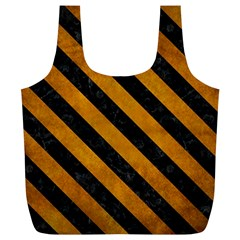 Stripes3 Black Marble & Yellow Grunge Full Print Recycle Bags (l)