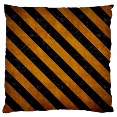 Stripes3 Black Marble & Yellow Grunge Large Flano Cushion Case (two Sides)