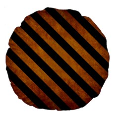 Stripes3 Black Marble & Yellow Grunge Large 18  Premium Flano Round Cushions