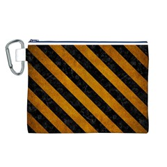 Stripes3 Black Marble & Yellow Grunge Canvas Cosmetic Bag (l)