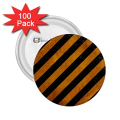 Stripes3 Black Marble & Yellow Grunge (r) 2 25  Buttons (100 Pack)
