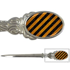 Stripes3 Black Marble & Yellow Grunge (r) Letter Openers