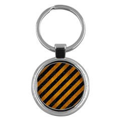 Stripes3 Black Marble & Yellow Grunge (r) Key Chains (round)
