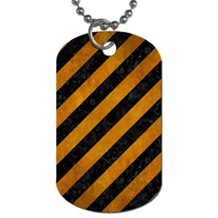 Stripes3 Black Marble & Yellow Grunge (r) Dog Tag (one Side)