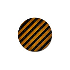 Stripes3 Black Marble & Yellow Grunge (r) Golf Ball Marker (4 Pack)