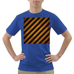 Stripes3 Black Marble & Yellow Grunge (r) Dark T Shirt