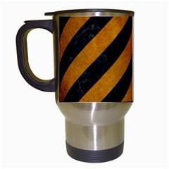 Stripes3 Black Marble & Yellow Grunge (r) Travel Mugs (white)