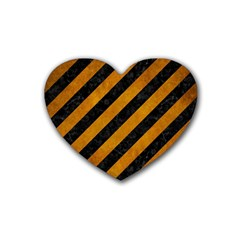 Stripes3 Black Marble & Yellow Grunge (r) Rubber Coaster (heart)