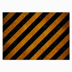 Stripes3 Black Marble & Yellow Grunge (r) Large Glasses Cloth