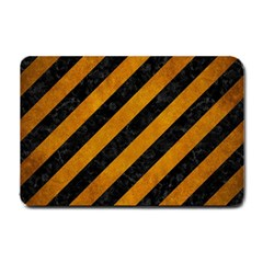 Stripes3 Black Marble & Yellow Grunge (r) Small Doormat