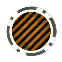 Stripes3 Black Marble & Yellow Grunge (r) Poker Chip Card Guard