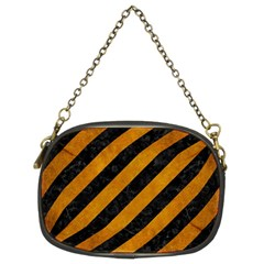 Stripes3 Black Marble & Yellow Grunge (r) Chain Purses (two Sides)