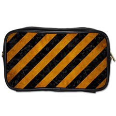 Stripes3 Black Marble & Yellow Grunge (r) Toiletries Bags