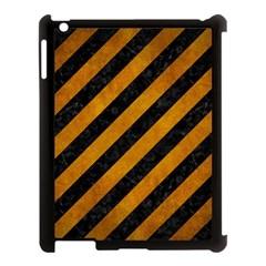 Stripes3 Black Marble & Yellow Grunge (r) Apple Ipad 3/4 Case (black)