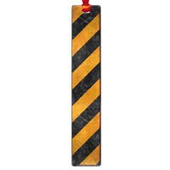 Stripes3 Black Marble & Yellow Grunge (r) Large Book Marks