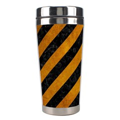 Stripes3 Black Marble & Yellow Grunge (r) Stainless Steel Travel Tumblers