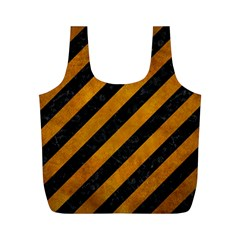 Stripes3 Black Marble & Yellow Grunge (r) Full Print Recycle Bags (m)