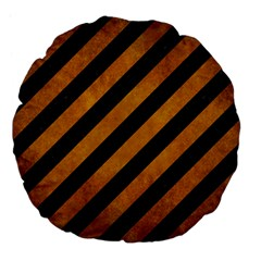 Stripes3 Black Marble & Yellow Grunge (r) Large 18  Premium Flano Round Cushions