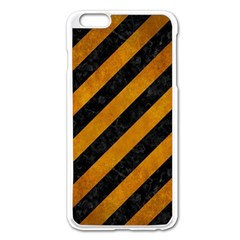 Stripes3 Black Marble & Yellow Grunge (r) Apple Iphone 6 Plus/6s Plus Enamel White Case