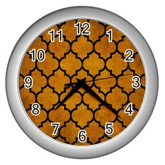Tile1 Black Marble & Yellow Grunge Wall Clocks (silver)
