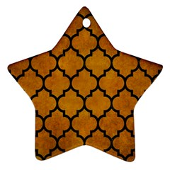 Tile1 Black Marble & Yellow Grunge Star Ornament (two Sides)