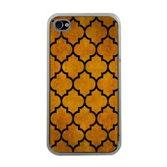 Tile1 Black Marble & Yellow Grunge Apple Iphone 4 Case (clear)