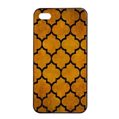 Tile1 Black Marble & Yellow Grunge Apple Iphone 4/4s Seamless Case (black)