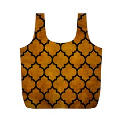 Tile1 Black Marble & Yellow Grunge Full Print Recycle Bags (m)
